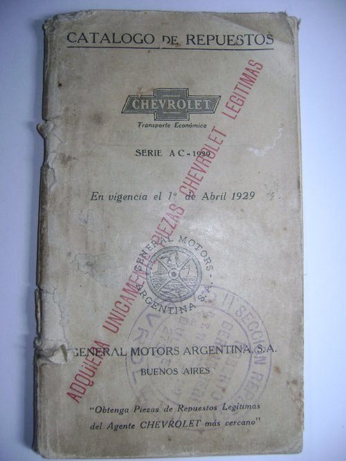 Repuesto Manual Chrevrolet 1929