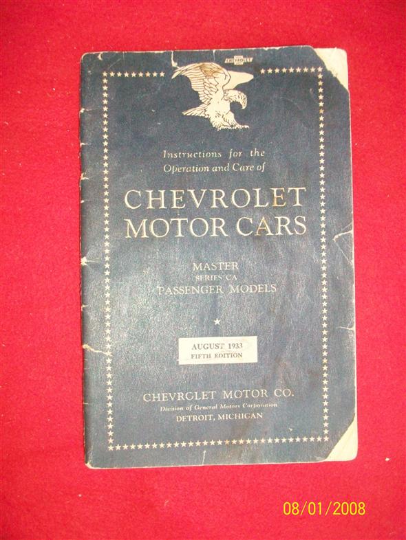 Repuesto Manual Original Chevrolet 1933.