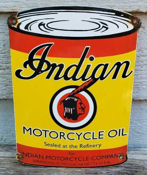 Antiguo Cartel Enlozado Lata Aceite Para Motocicletas Indian