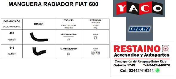 Manguera Radiador Fiat 600