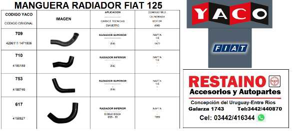 Manguera Radiador Fiat 125
