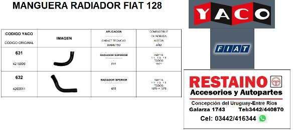 Manguera Radiador Fiat 128